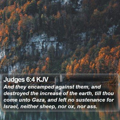 Judges 6:4 KJV Bible Verse Image