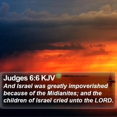 Judges 6:6 KJV Bible Verse Image
