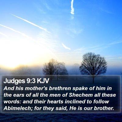 Judges 9:3 KJV Bible Verse Image