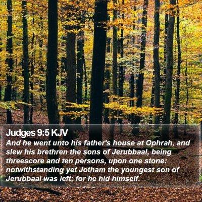 Judges 9:5 KJV Bible Verse Image