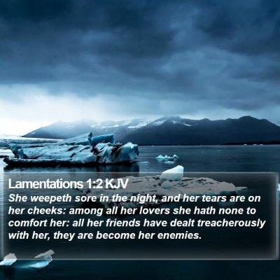 Lamentations 1:2 KJV Bible Verse Image