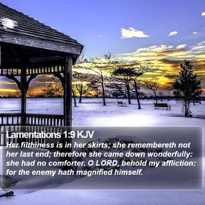 Lamentations 1:9 KJV Bible Verse Image