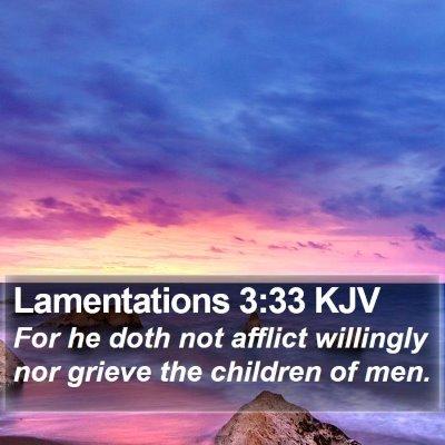 Lamentations 3:33 KJV Bible Verse Image