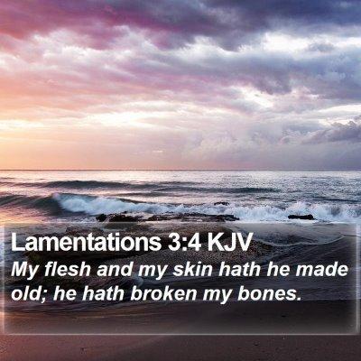 Lamentations 3:4 KJV Bible Verse Image