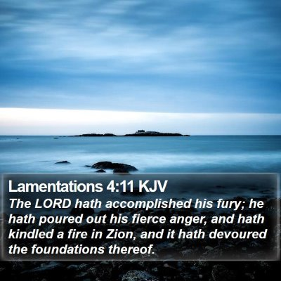 Lamentations 4:11 KJV Bible Verse Image
