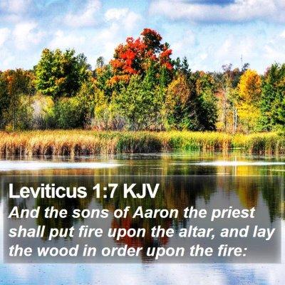 Leviticus 1:7 KJV Bible Verse Image