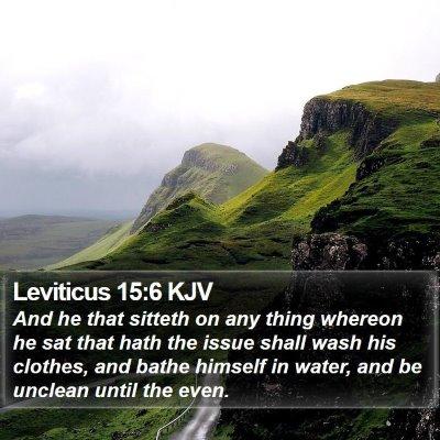Leviticus 15:6 KJV Bible Verse Image