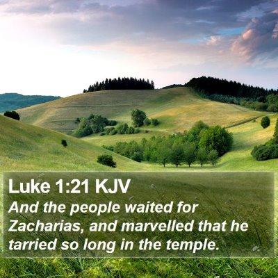 Luke 1:21 KJV Bible Verse Image