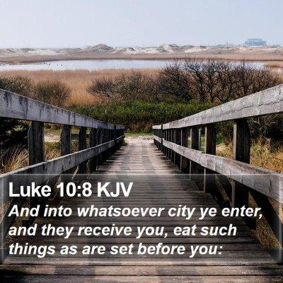 Luke 10:8 KJV Bible Verse Image