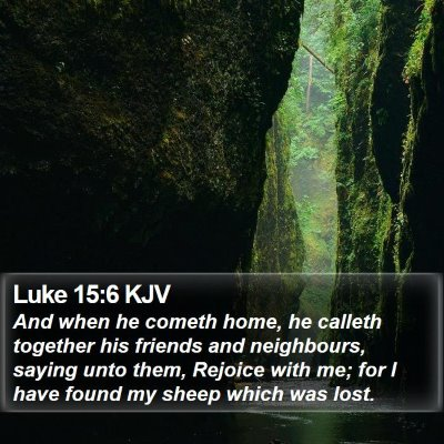 Luke 15:6 KJV Bible Verse Image