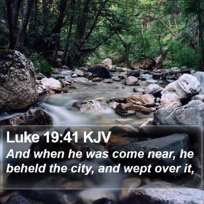 Luke 19:41 KJV Bible Verse Image