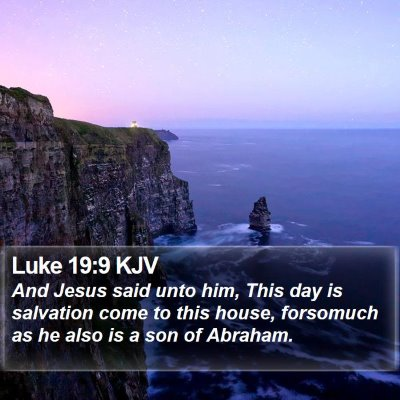 Luke 19:9 KJV Bible Verse Image