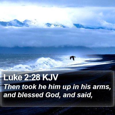 Luke 2:28 KJV Bible Verse Image