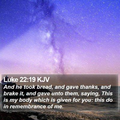 Luke 22:19 KJV Bible Verse Image