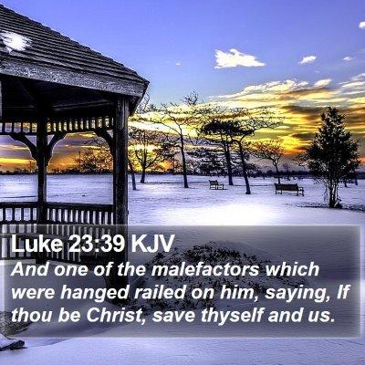 Luke 23:39 KJV Bible Verse Image