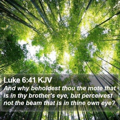 Luke 6:41 KJV Bible Verse Image