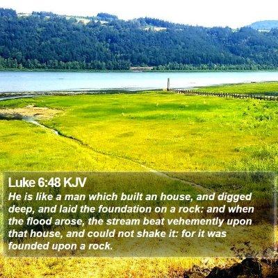 Luke 6:48 KJV Bible Verse Image