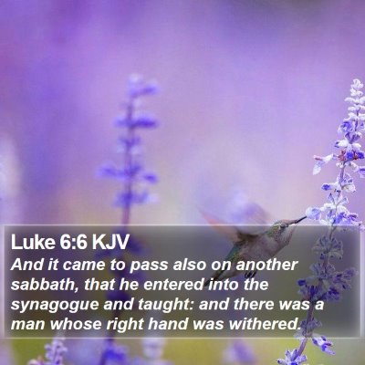 Luke 6:6 KJV Bible Verse Image