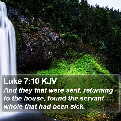 Luke 7:10 KJV Bible Verse Image