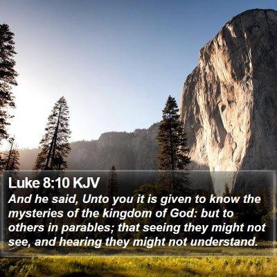 Luke 8:10 KJV Bible Verse Image