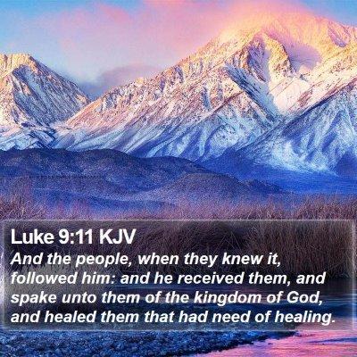 Luke 9:11 KJV Bible Verse Image