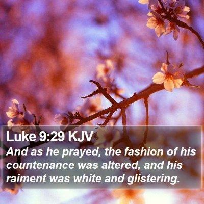 Luke 9:29 KJV Bible Verse Image