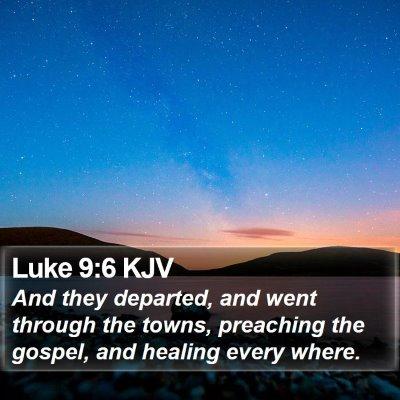 Luke 9:6 KJV Bible Verse Image
