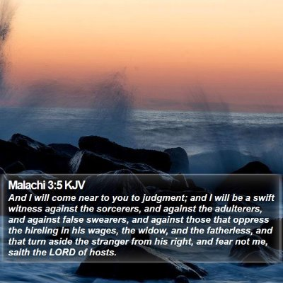Malachi 3:5 KJV Bible Verse Image