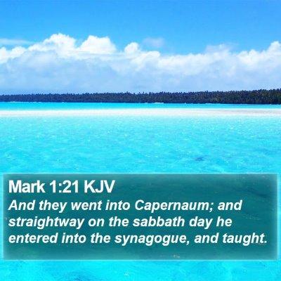 Mark 1:21 KJV Bible Verse Image