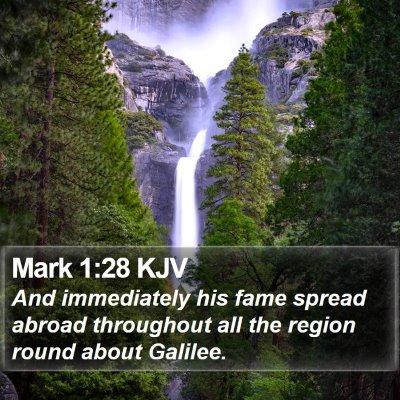 Mark 1:28 KJV Bible Verse Image