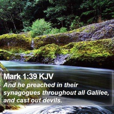 Mark 1:39 KJV Bible Verse Image