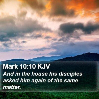 Mark 10:10 KJV Bible Verse Image