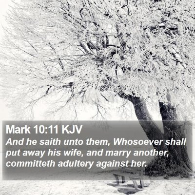 Mark 10:11 KJV Bible Verse Image