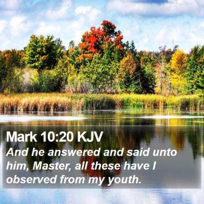 Mark 10:20 KJV Bible Verse Image