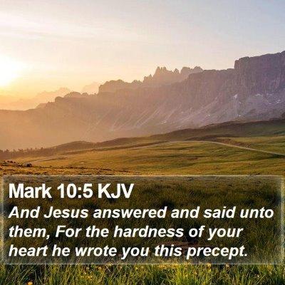 Mark 10:5 KJV Bible Verse Image