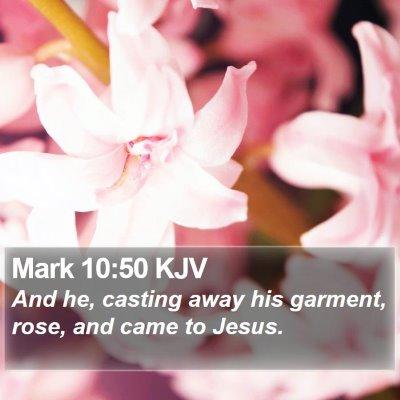 Mark 10:50 KJV Bible Verse Image