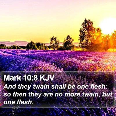 Mark 10:8 KJV Bible Verse Image
