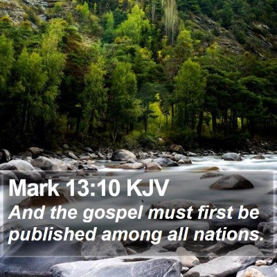 Mark 13:10 KJV Bible Verse Image
