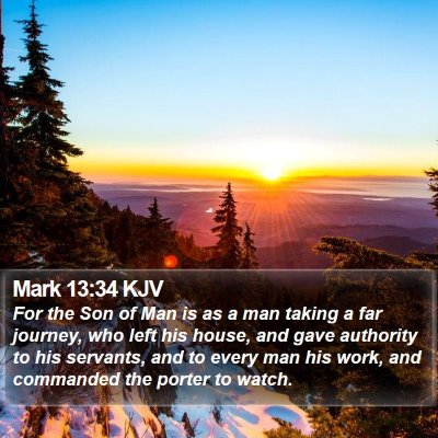 Mark 13:34 KJV Bible Verse Image