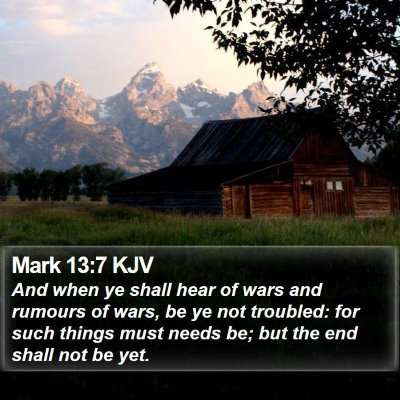 Mark 13:7 KJV Bible Verse Image