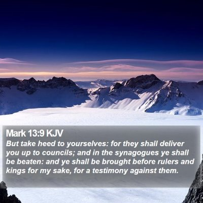 Mark 13:9 KJV Bible Verse Image