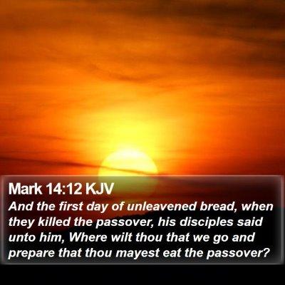 Mark 14:12 KJV Bible Verse Image