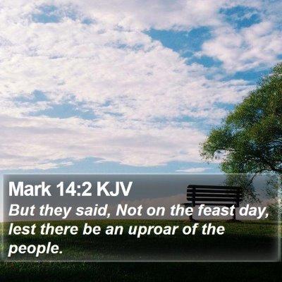 Mark 14:2 KJV Bible Verse Image