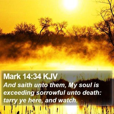 Mark 14:34 KJV Bible Verse Image
