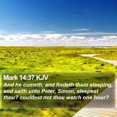 Mark 14:37 KJV Bible Verse Image