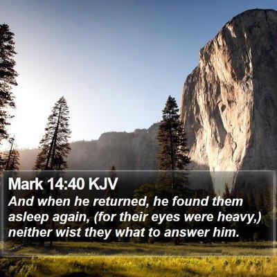 Mark 14:40 KJV Bible Verse Image