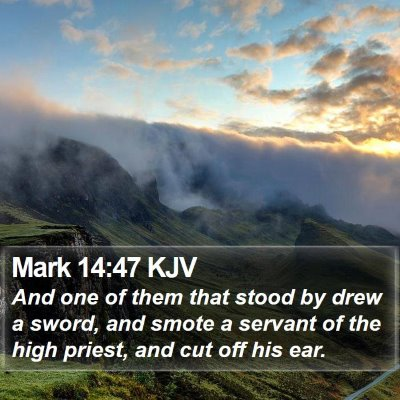 Mark 14:47 KJV Bible Verse Image