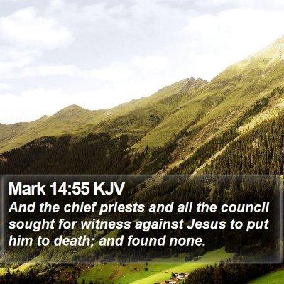 Mark 14:55 KJV Bible Verse Image