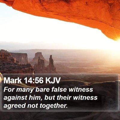 Mark 14:56 KJV Bible Verse Image