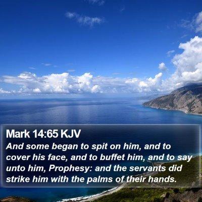 Mark 14:65 KJV Bible Verse Image